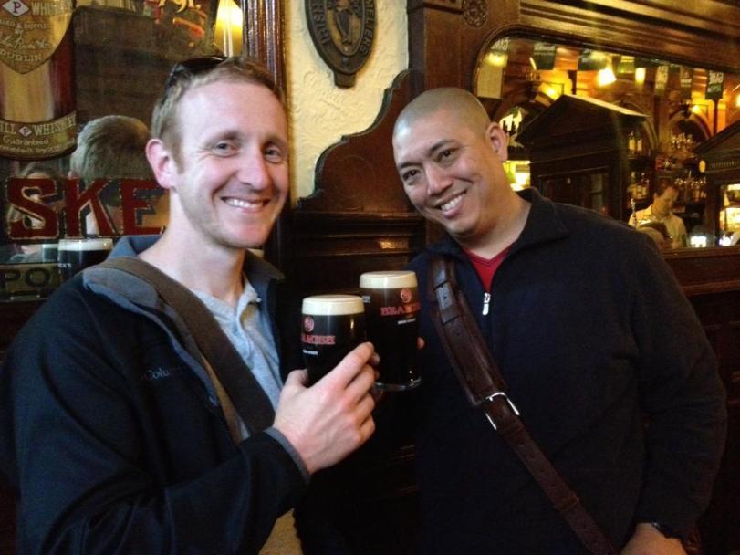 Jake and John enjoying an after dinner drink at the Palace Bar.