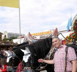 John with the horses that kick off Oktoberfest. Each beer tent has a parade float advertising their establishment!
