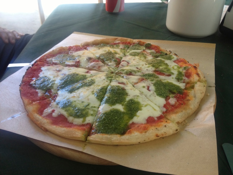 Pesto Pizza in Vernazza - best pizza I have ever had!