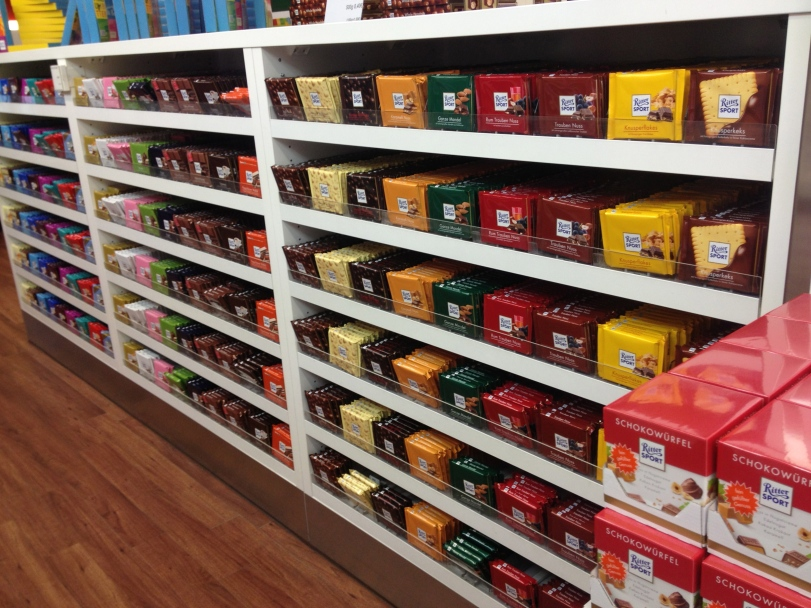 Rows and rows of yummy chocolate everywhere!