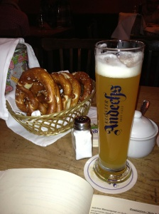 The Andescher am Dom is the perfect place to get beer, pretzels and sausage! All staples of Bavaria!