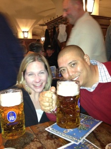 The Hofbrauhaus is a must-visit! This was the first time I had ever seen, let alone drank a 1-liter beer. But the energy is amazing and it was such a fun time!