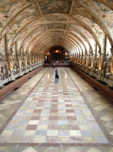 The Munich Residenz, a former palace of the Bavarian Monarchy, was heavily damaged by Allied Bombing in WWII, but the massive building was beautifully restored by the 1980s.