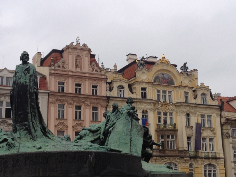 The Jan Hus statute in the middle of the square. He was a famous Prague reformer.