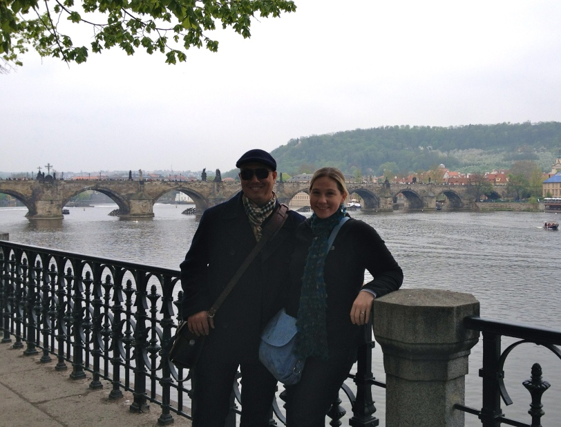 With the Charles Bridge in the background.