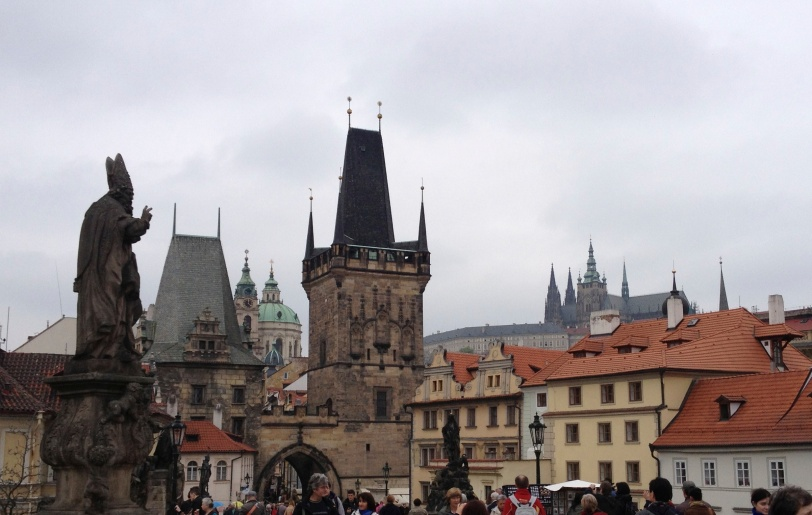 On the Charles Bridge looking at the Lesser Town and the Castle.