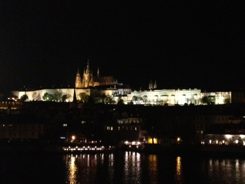 The Prague Castle at night.