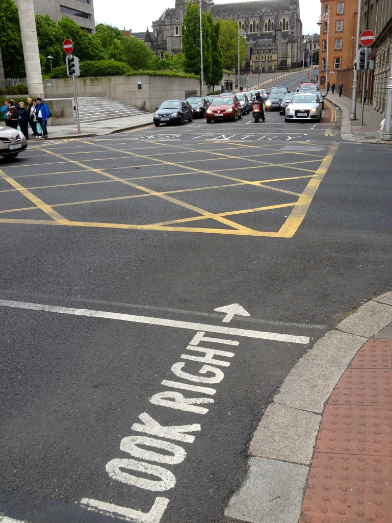 The Irish driving on opposite sides than what we are used to make these handy road signs necessary. Especially after a couple of close calls!