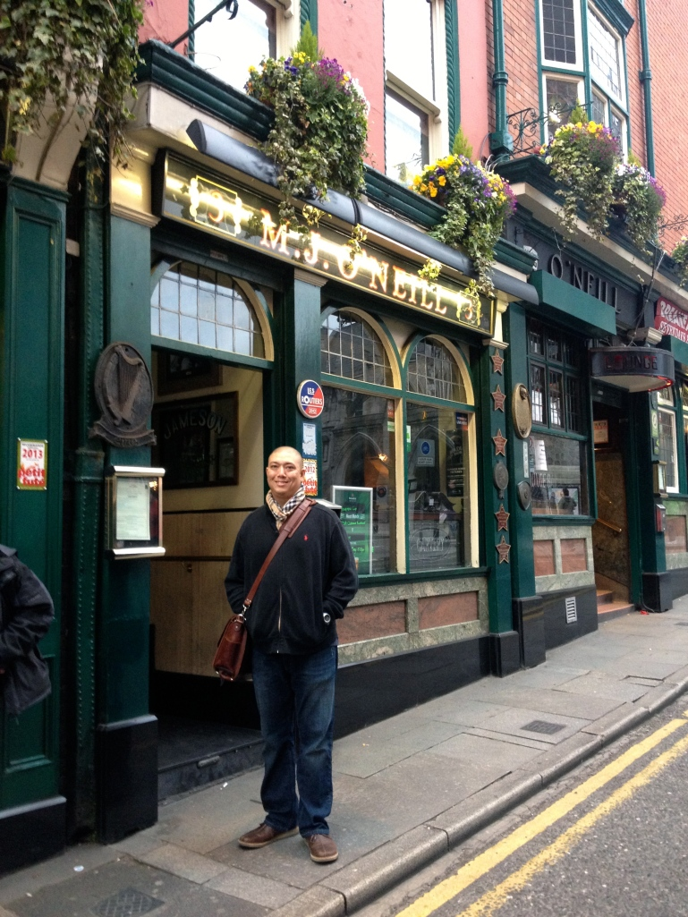 John in front of one of the pubs on the crawl!