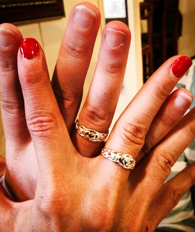 Renee and I's Claddaugh Rings - please ignore my gross nails! :-)