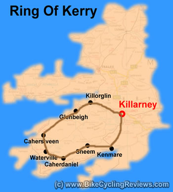 An outline of the Ring of Kerry. We set out early, making our way from Killarney to Sneem.