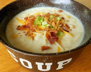 This is not a real depiction of my mom's potato soup...but it's close and it's enough to get my mouth watering!