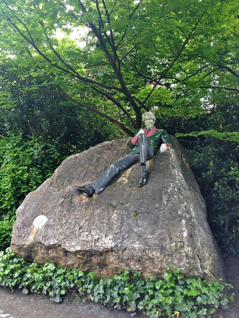 The Oscar Wilde statue in Merrien Square - Wilde was born in Dublin and his childhood house is directly across the street from this statue