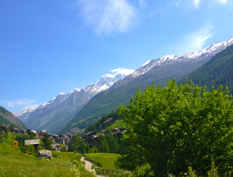 A glance back at the village of Zermatt from where we had hiked!