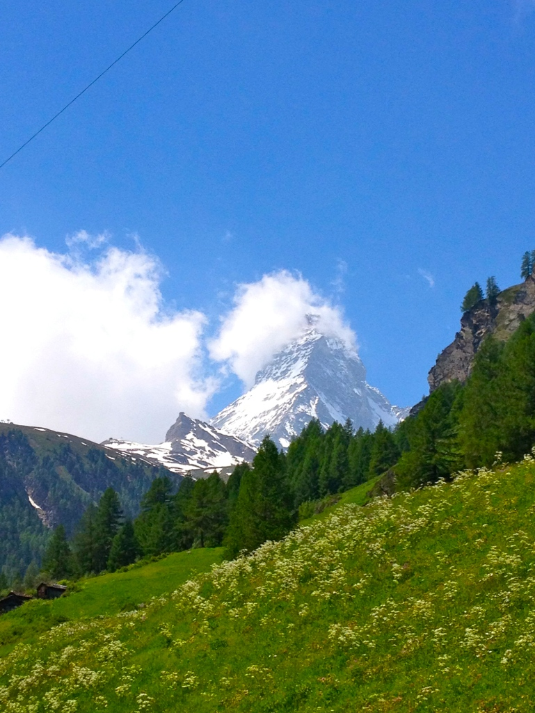 The Matterhorn finally started making an appearance on our way back down the mountain!
