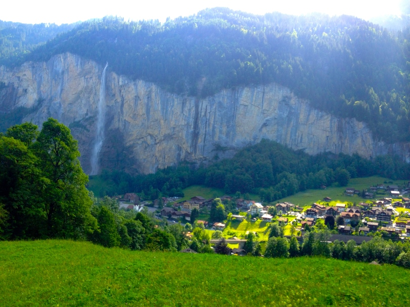 A view of the Lauterbrunnen Valley from the train that took us from the parking lot to Wengen.