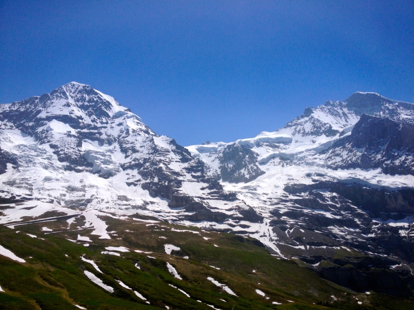 In the middle of the two ranges is the Jungfraujoch building! So tiny from the train!