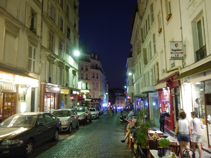 The Montmarte district at night.