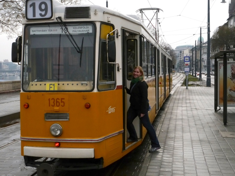 Hopping one of the above ground trams to get us to the Buda Castle!