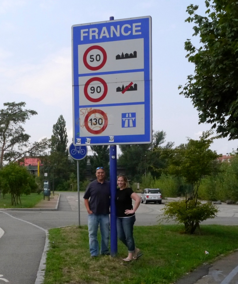 The oh-so-exciting crossing into France sign! :-)