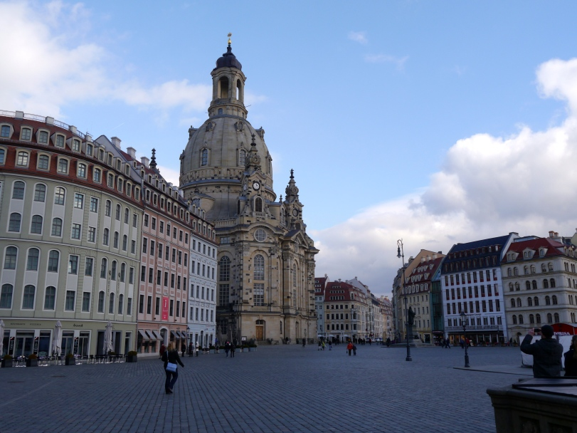 The main market square, highlighted by the Frauenkirche. It was only recently renovated (completed in 2005) and i