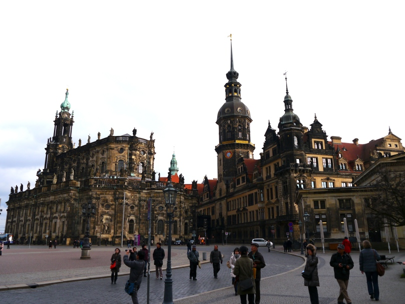The highlight of the Dresden old town - with the Katholische Hofkirche on the left and the Kreuzkirche on the right