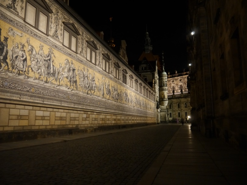 The Furstenzug, or Processional of Princes, an impressive mural documenting the history of the ruling parties of Dresden.