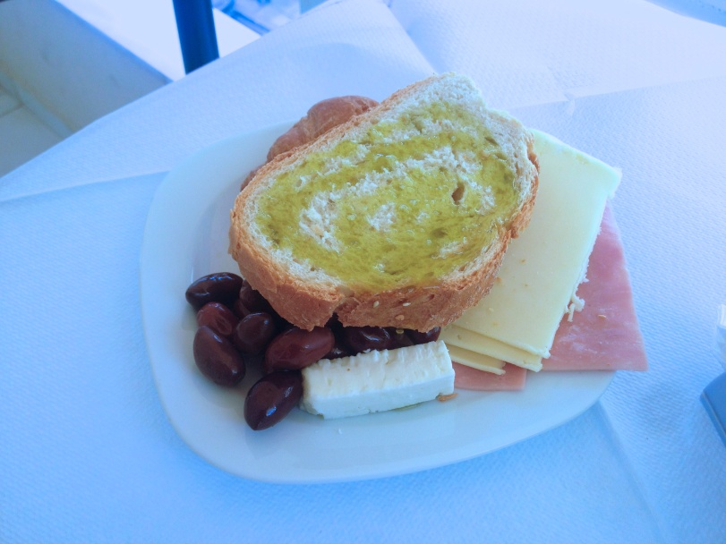 What else would you expect from a Greek hotel, but to serve bread and olive oil, with feta and olives for breakfast?