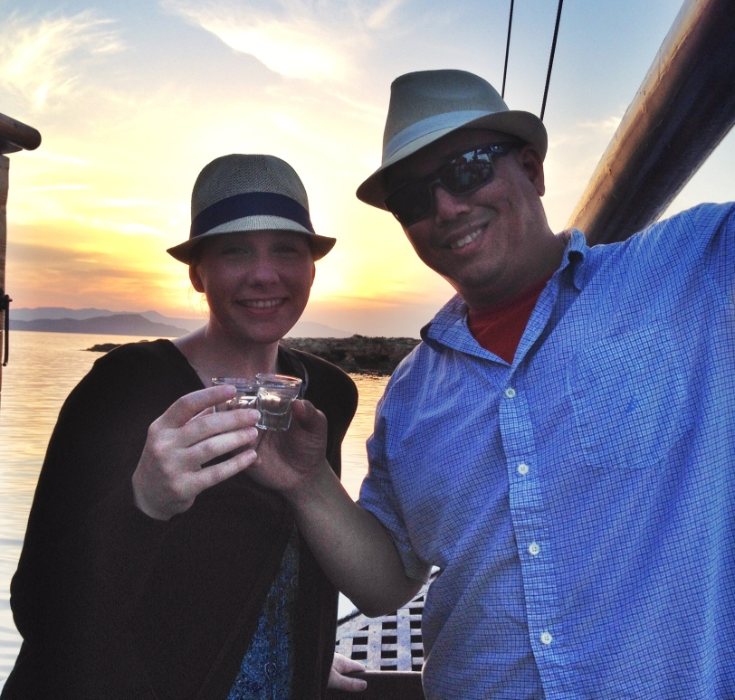 Cheers! Shots of Raki while watching the sunset on the boat!