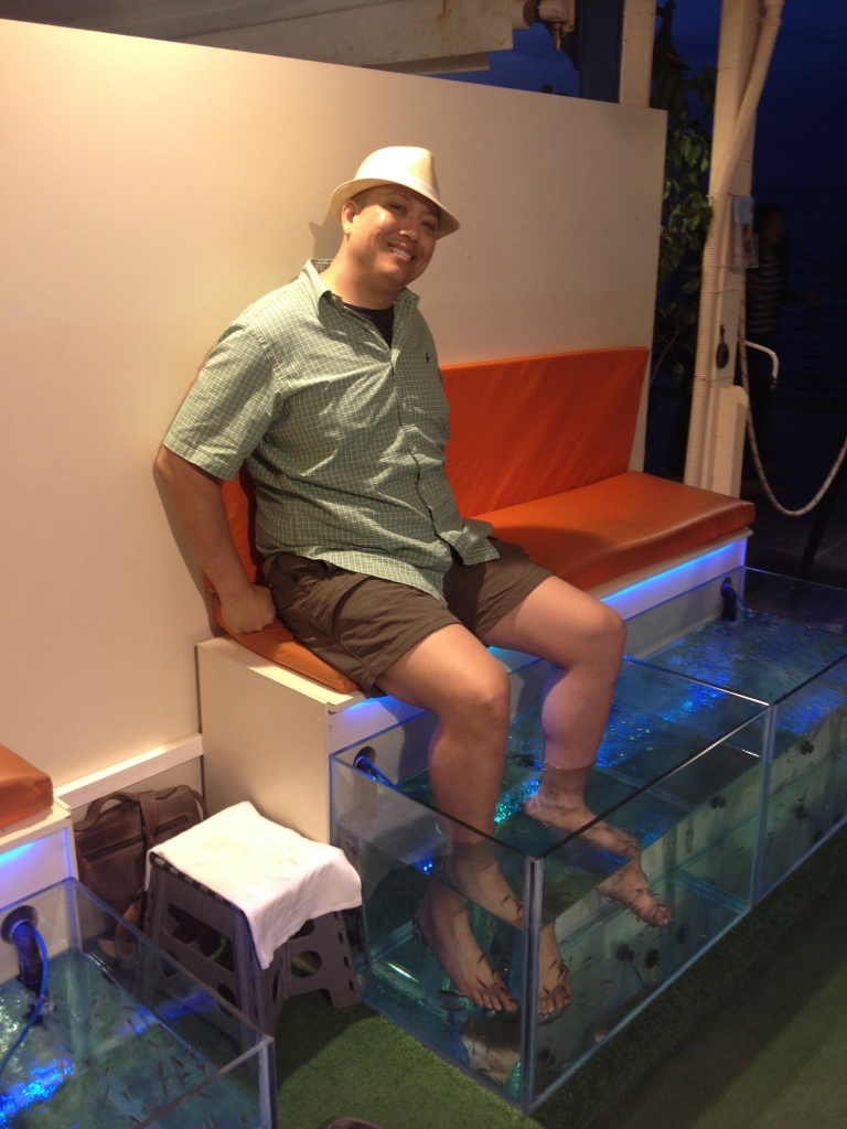 John getting his Garra Rufa Fish Pedicure...I was having none of it. I am way too ticklish!