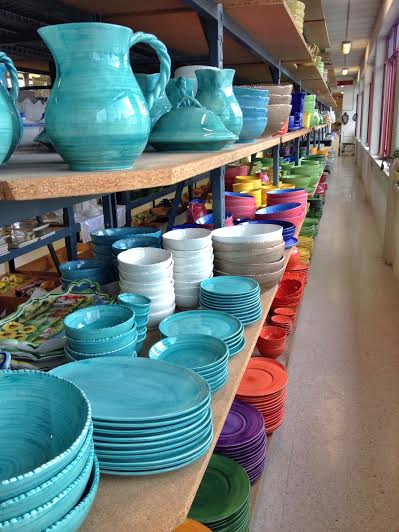 Rows of this colorful Fiesta Ware…we had a set picked out but figured we didn't need it right now.