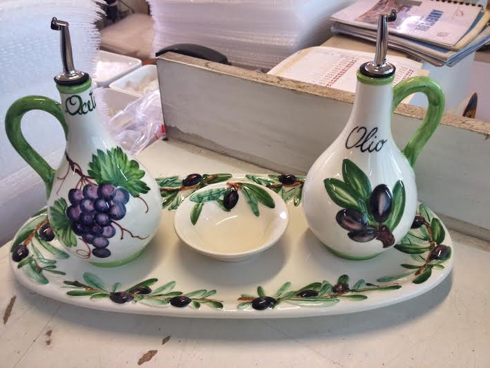 On top of the weaved Tiffany basket, the Caprese plate and the mosaics, we picked up this adorable Olive Oil set!