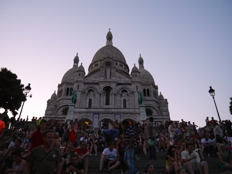 Sacre Coeur and the packed steps