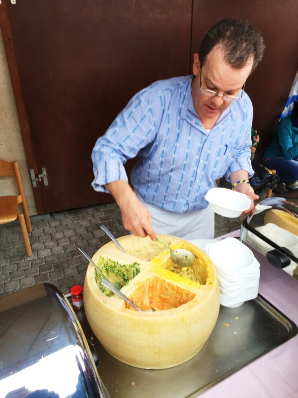This was awesome...Risotto cooked in a cheese wheel!