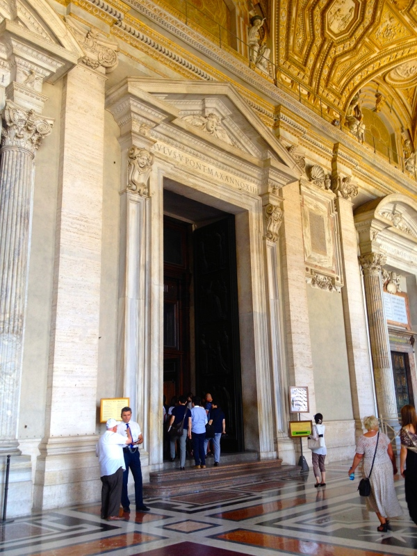 The entrance into St. Peter's Basilica.