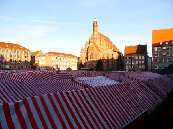 Rows and rows of cute stalls underneath the striped tents!