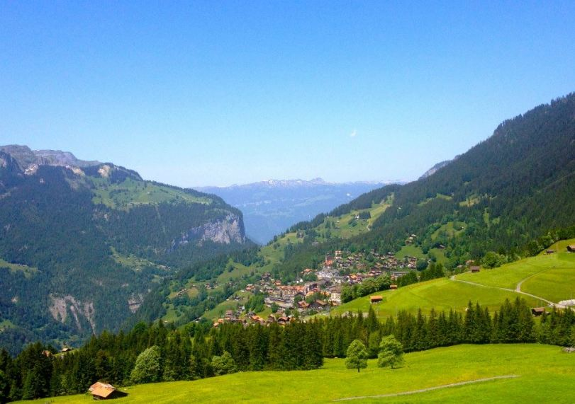 A view of Wengen from the Jungfrau railway. Adorable town nestled in the Alps.
