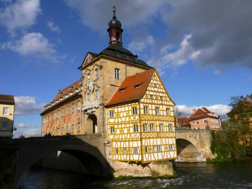 The Altes Rathaus built in 1386 in the middle of the Regnitz River, accessible by two bridges.