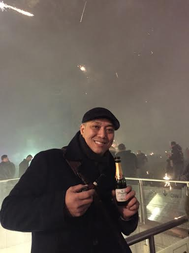 John at midnight...the fireworks masked by the smoke!