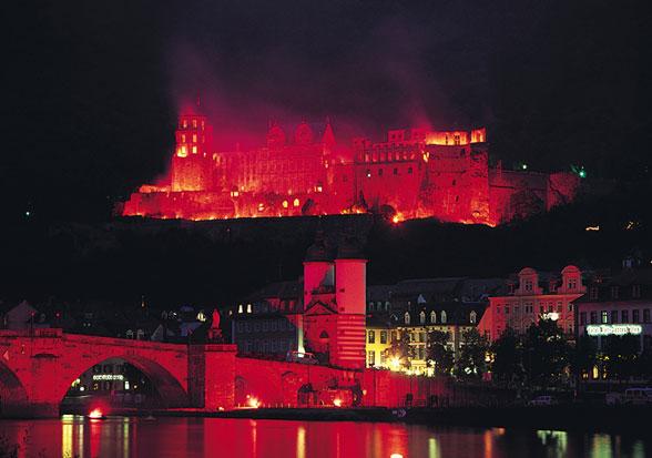 The Castle set afire.