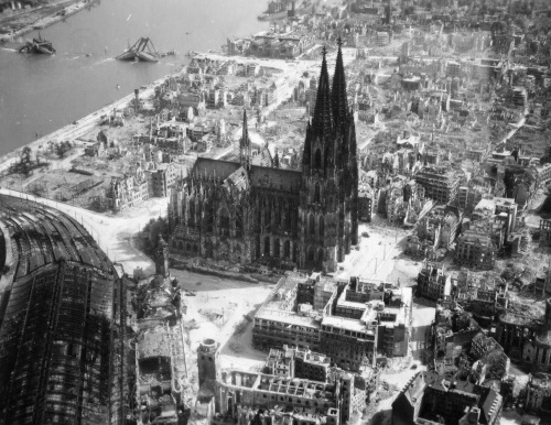 This is not the Cologne Cathedral we saw - but this picture is the quintessential shot of a typical German town post-Allied bombings.