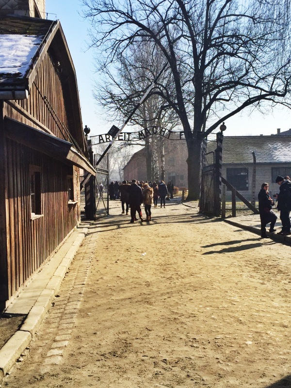 """The entrance to Aushwitz. The first sign of the Nazi's evil deception. """"Arbeit macht frei"""" means """"Works makes free."""" Sadly, that was not truly the case."""