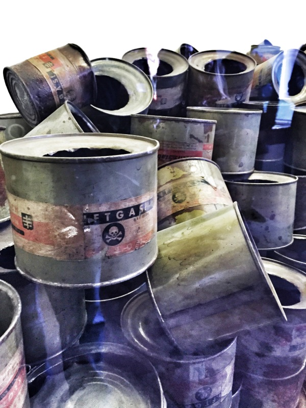 The cans that held the Zyklon-B that was used in the gas chambers.