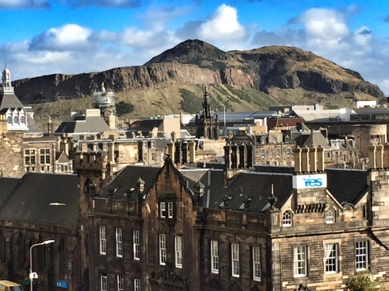 The views from the Castle were beautiful. This is looking at Old Town, with Arthur's Seat in the background.