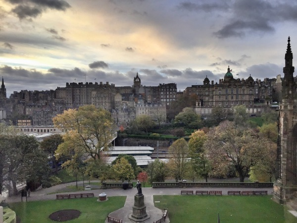 The view of Old Town Edinburgh from our hotel room.