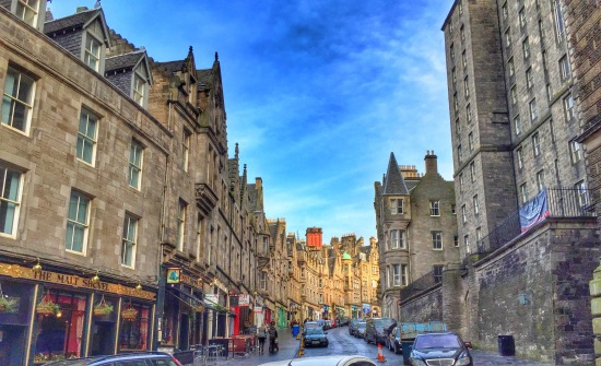 Another view of Victoria Street, which runs into the Grassmarket area.