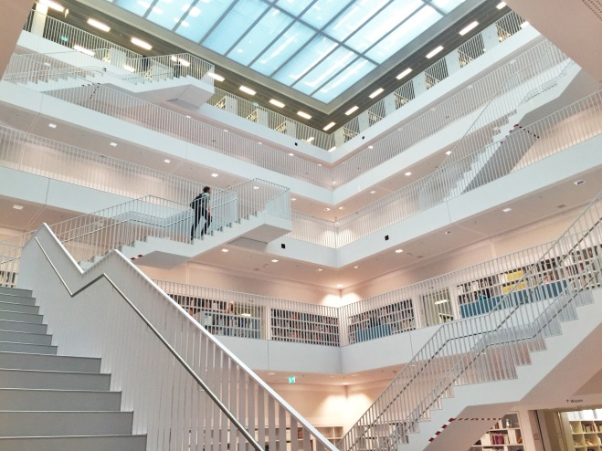 These are the upper floors of the library, again with the stairwell and various rooms on the outside of this interior.