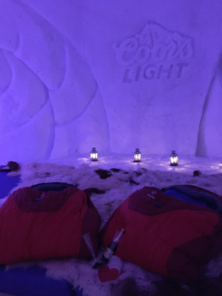 The very cozy setting...with the ever-so-romantic Coors Light carved into the wall! :-)