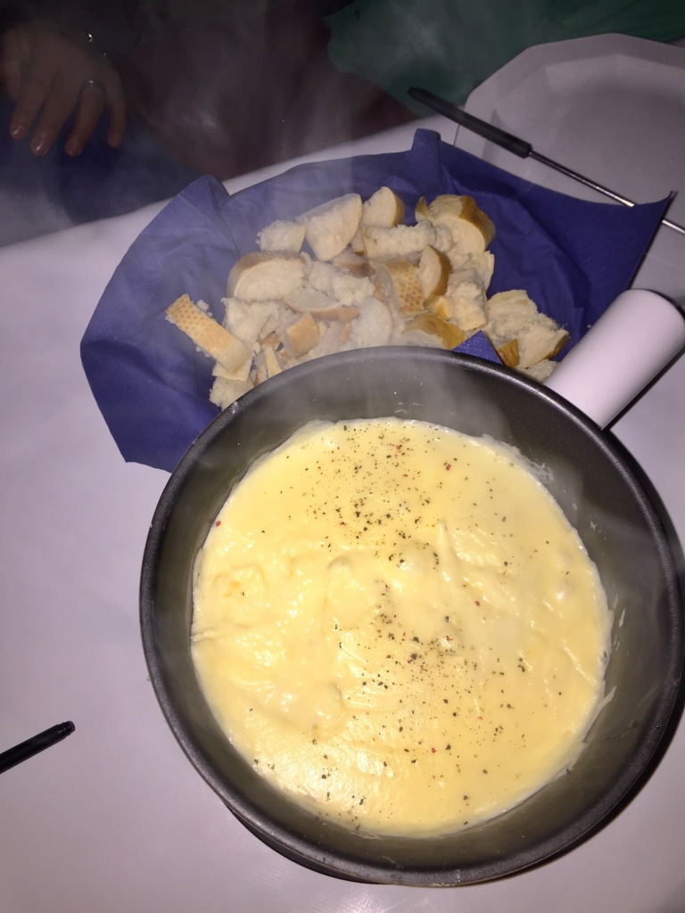 Our cheese fondue dinner.