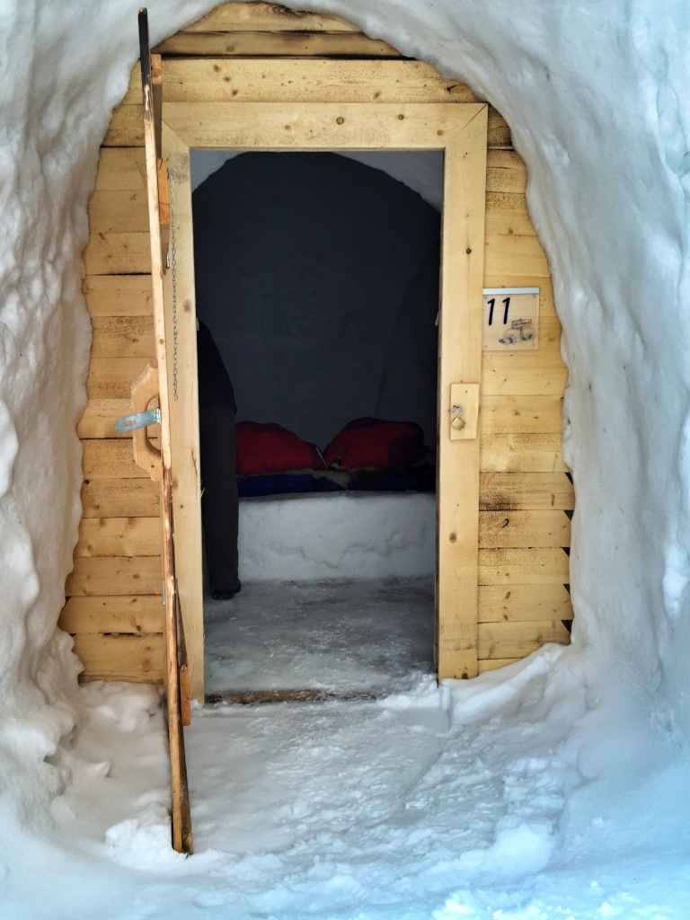 The entrance into the igloo...see the big chunk of ice? We had to climb up and down that to get to the bed. I was a bit worried I was going to bust it on a couple of occasions!